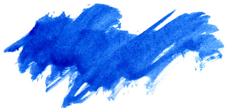 paint texture: Blue watercolor abstract paint stroke on white background