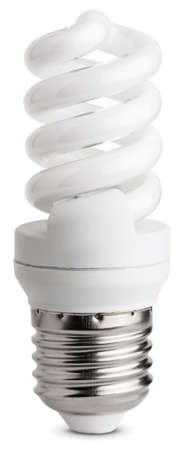 fluorescent light: Close up of a fluorescent light bulb, isolated on white background with clipping paths Stock Photo