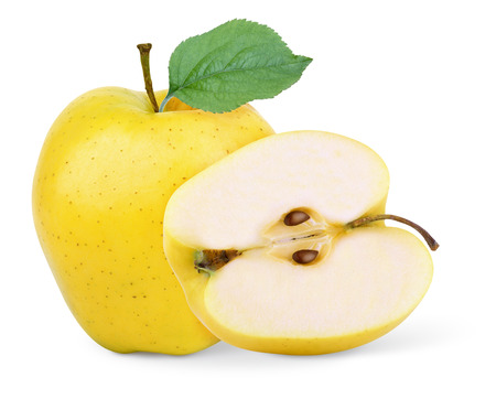 yellow apple fruits isolated on white background