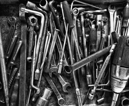 metal: Set of metal working tools in workshop