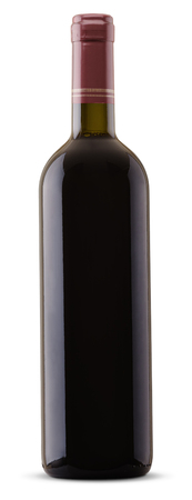 red wine bottle isolated on white with clipping paths
