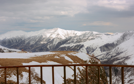 view of the snowy mountains from the observation deck of Georgia Kazbegi