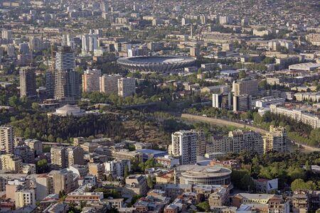 georgian: View from Mount Mtatsminda in the Georgian capital of Tbilisi