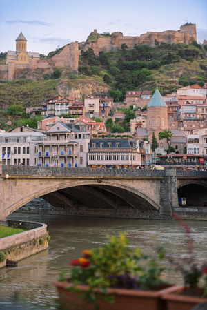 Narikala fortress and the old town of Tbilisi, Georgia. Editorial
