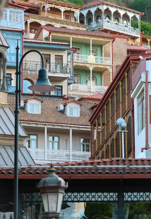 Traditional wooden carving balconies of Old Town of Tbilisi