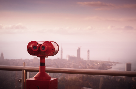 binoculars to view cityscapes, views from the observation deck of the city of Batumi, Georgia Stock Photo