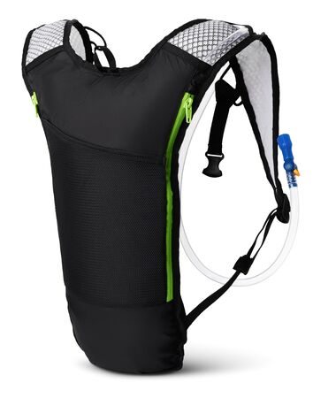 Hydration pack side view, isolated on white background
