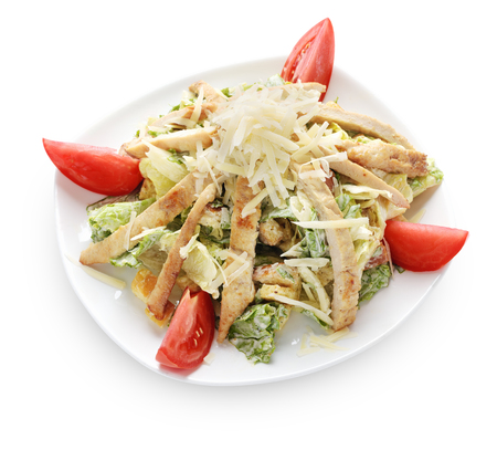 Caesar salad isolated on white with clipping paths