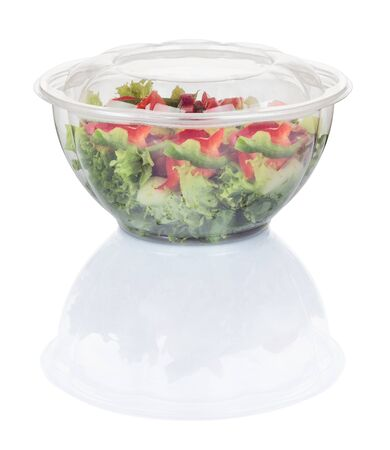 vegetable salad in a disposable plastic plate isolated