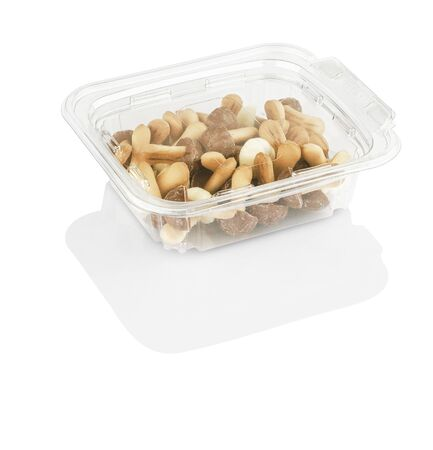 chocolate chip cookies shaped like mushrooms in a transparent box isolated on a white background with clipping path Stok Fotoğraf