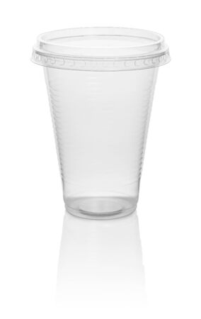plastic transparent disposable cup, isolated on white background with clipping path Stok Fotoğraf
