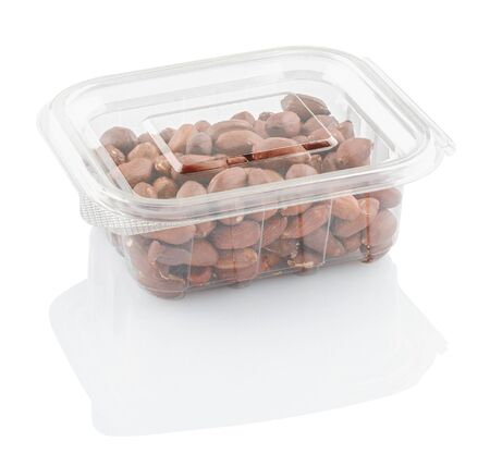 peanuts groundnuts in a transparent plastic container isolated on a white background with clipping path