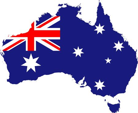 The red white and blue Australian flag and stars placed over an outline map of Australia. Highly detailed country outline.