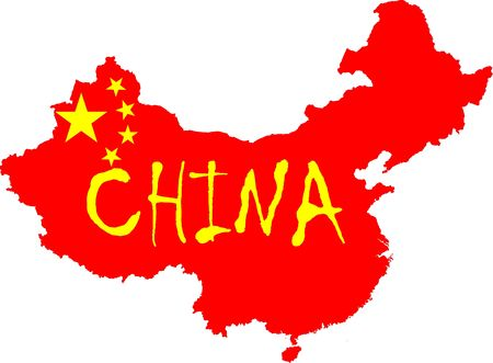 The Chinese flag yellow stars and red colored flag placed over a map of China. Highly detailed country outline.