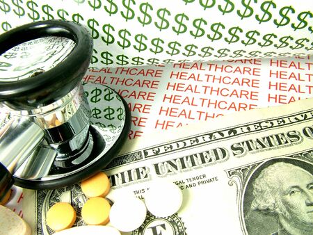 Concept of the cost of health care and medical expenses in the United States, with one dollar bill and pills. Stock Photo