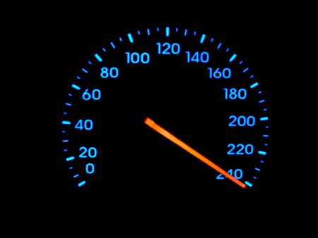 A speedometer speedo at faster than maximum velocity.
