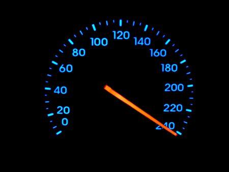 than: A speedometer speedo at faster than maximum velocity.