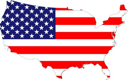north star: The USA stars and stripes old glory flag placed over a map of the United States of America. Highly detailed country outline. Stock Photo