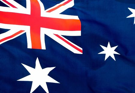 An Australian flag flying in a light breeze.