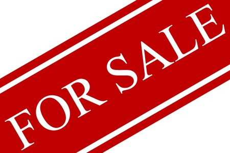purchaser: For sale sign in red and white on an angle with white background