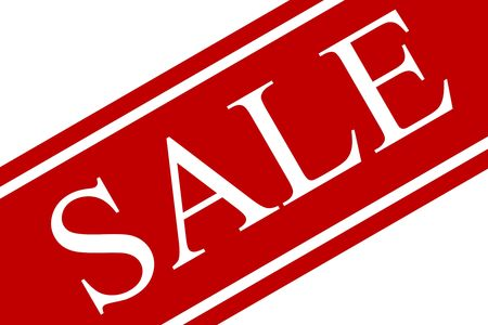 A red and white sale sign on an angle with white background.