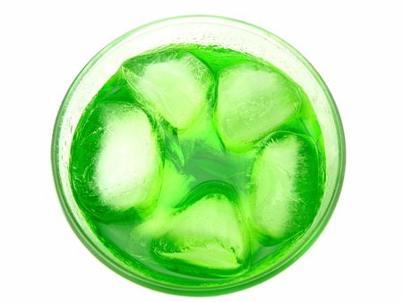 A lime flavored drink with ice cubes. Overhead view.
