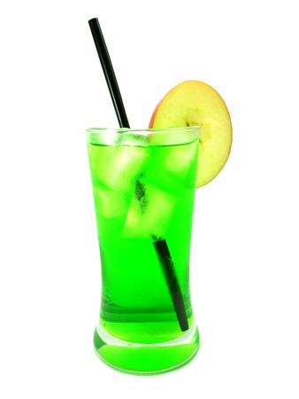 A cool green drink with a straw and a slice of apple over white background