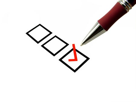 A red selected tick box with dark red pen over white background. Stock Photo - 954804