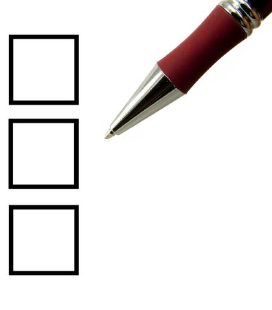 Unchecked tick boxes and dark red pen over white background. Stock Photo