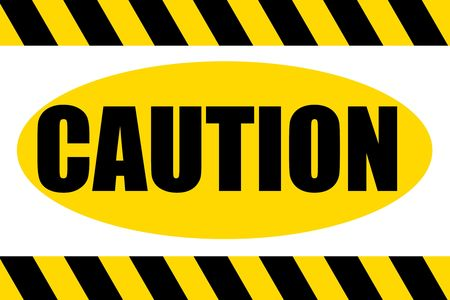 Black and yellow striped hazard caution sign over white background. Stock Photo