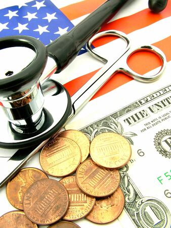 Health care costs in the United States of America. Concept of the cost of health care and medical expenses in the USA, over the old glory flag. Stock Photo