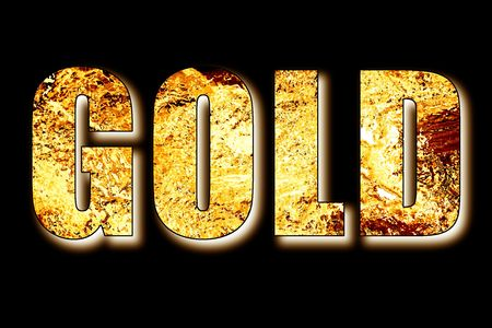 liquid gold: Gold word in 3D filled with gold foil bullion and bar color shaded over black background Stock Photo