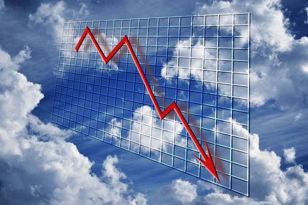 A red 3d graph declining over time concept financial decline or credit crisis crunch over grid and clouds with cloudy sky Stock Photo