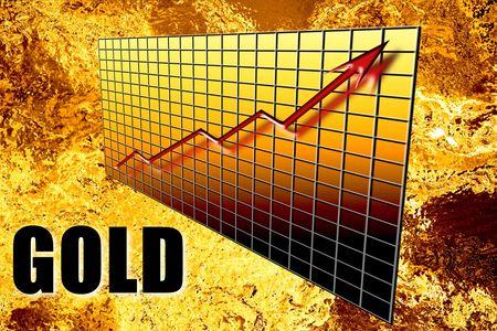 lingotes de oro: Golden concepto gr�fico de la riqueza mineral de lingotes de oro, aumentando con el tiempo en 3D con la palabra sobreimpresa. L�quido fundido de aluminio de fondo. Industria de las finanzas y los recursos