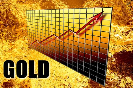 molten: Golden graph concept of gold bullion mineral wealth increasing over time in 3D with word overprinted. Liquid molten foil background. Finance and resources industry