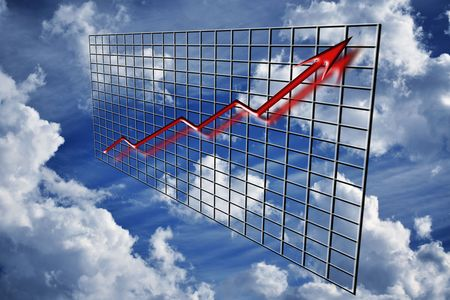 upturn: A red 3d graph ascending over time concept financial incline or profit increase over grid and clouds with cloudy sky Stock Photo