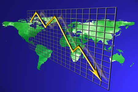 crisis economica: Recesi�n en la econom�a mundial concepto crisis financiera. Mundo 3d red colapso econ�mico y la disminuci�n de gr�fico.