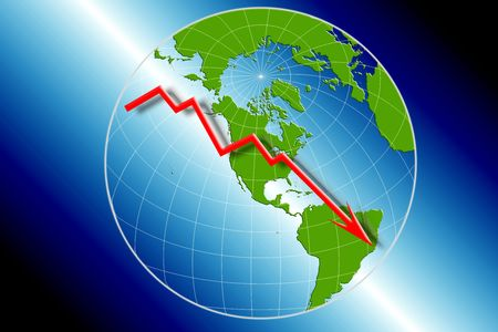 Globe map of the world centered on USA with downward arrow economic downturn financial crisis photo