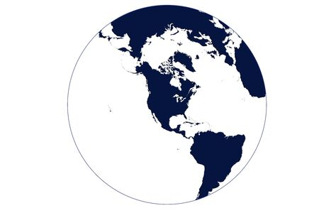 Globe map of the world centered on USA in blue with white oceans and earth outline Stock Photo