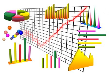 Numerous graphs and charts over grid and white background