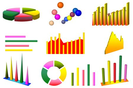 column chart: 10 high quality individual graph charts over white background. Each graph can be easily isolated. Stock Photo
