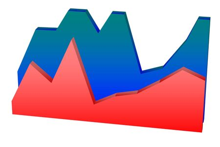 Red and blue double filled 3D line chart and graph diagram over white background Stock Photo