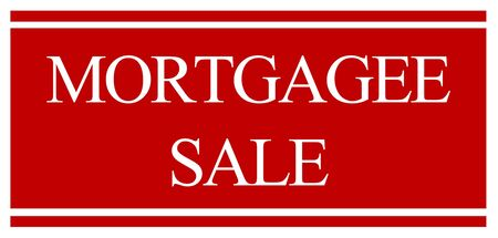 forsale: A red and white mortgagee sale foreclosure sign
