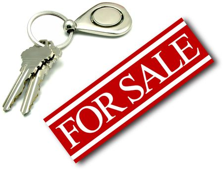 A for sale sign with two home house keys on key ring. Real estate bank sell and purchase foreclosure concept.