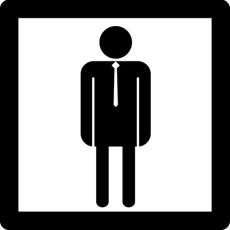 Male symbol icon concept entry into restroom or other place for men.