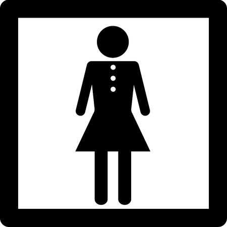 Female symbol icon concept entry into restroom or other place for women.