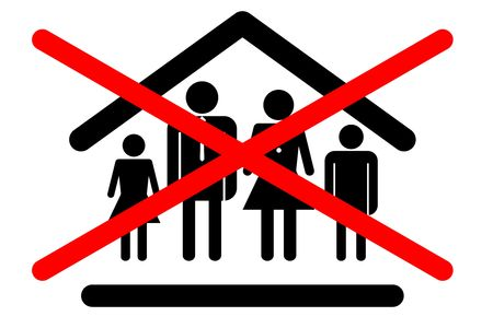 family unit: Family unit not allowed entry. No admittance to families sign icon concept.