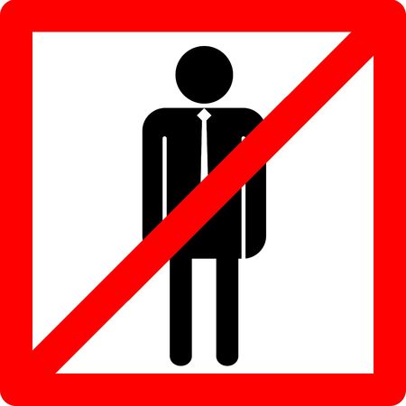 Male symbol icon concept no entry into restroom or other place where men are not allowed and deny entry.