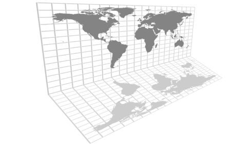 Gray world map over grid with continents and countries.