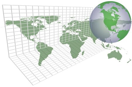 Green world map over grid with continents and countries.